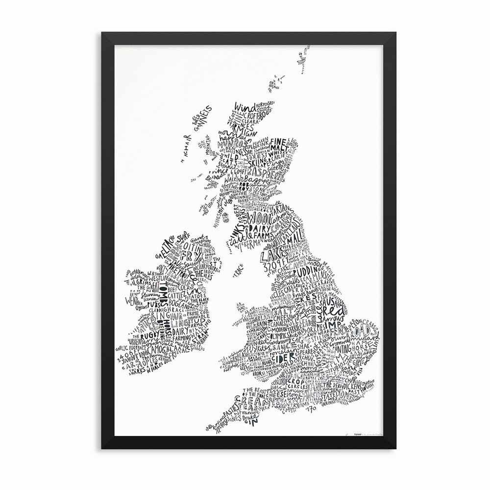 UK Word Map Framed
