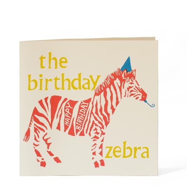 happy birthday zebra card